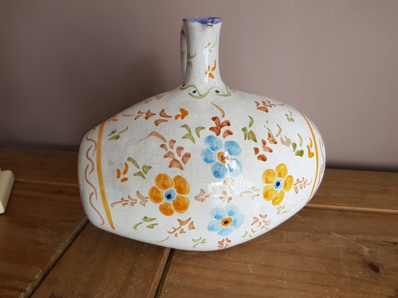 Hand Painted Pottery Barrel Decanter 20170813