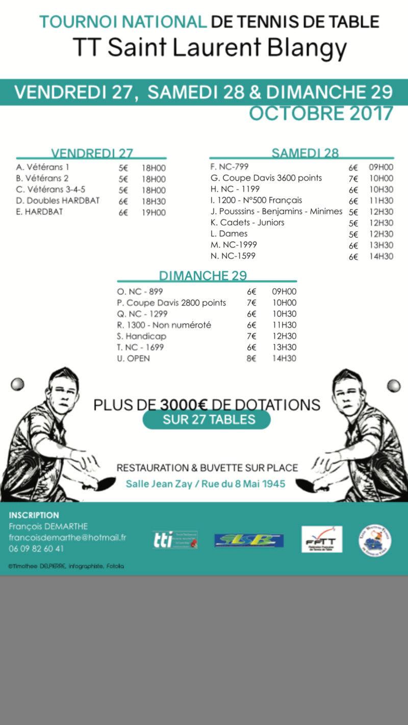 Tournoi National B St Laurent Bgy 27-28-29 octobre 2017 Affich11