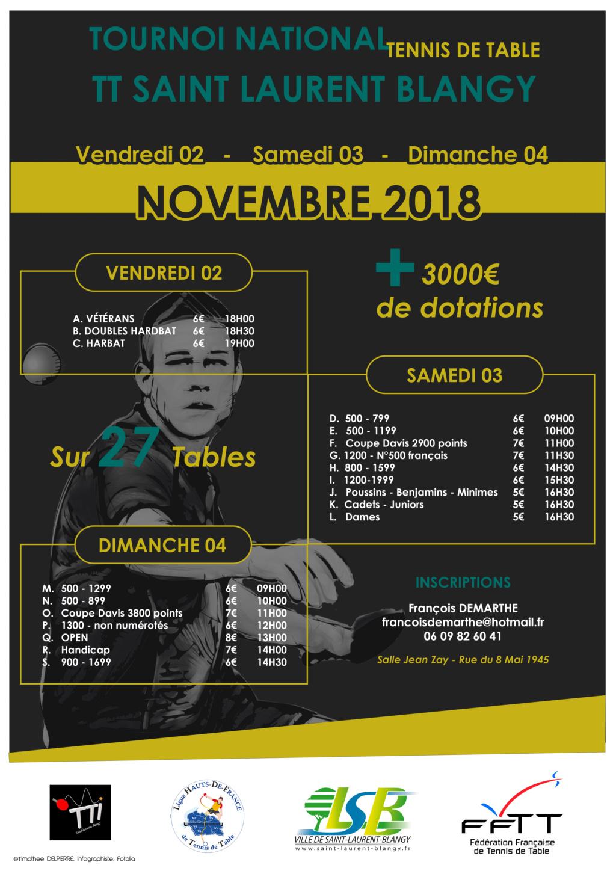 Tournoi national St Laurent Blangy 02/03/04 novembre 2018 Affich12