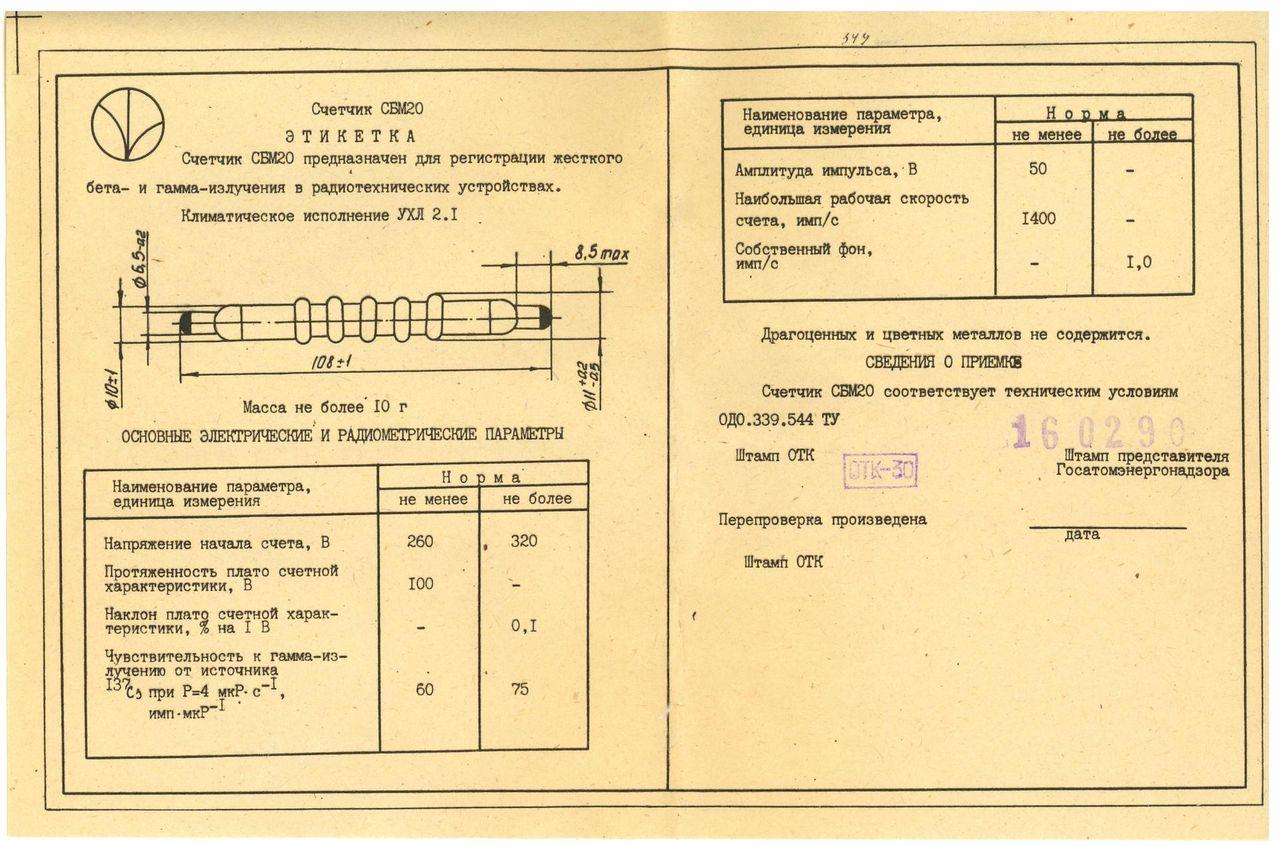 Tubes Geiger-Müller type SBM-20, STS-5 et BOI-33 73422610