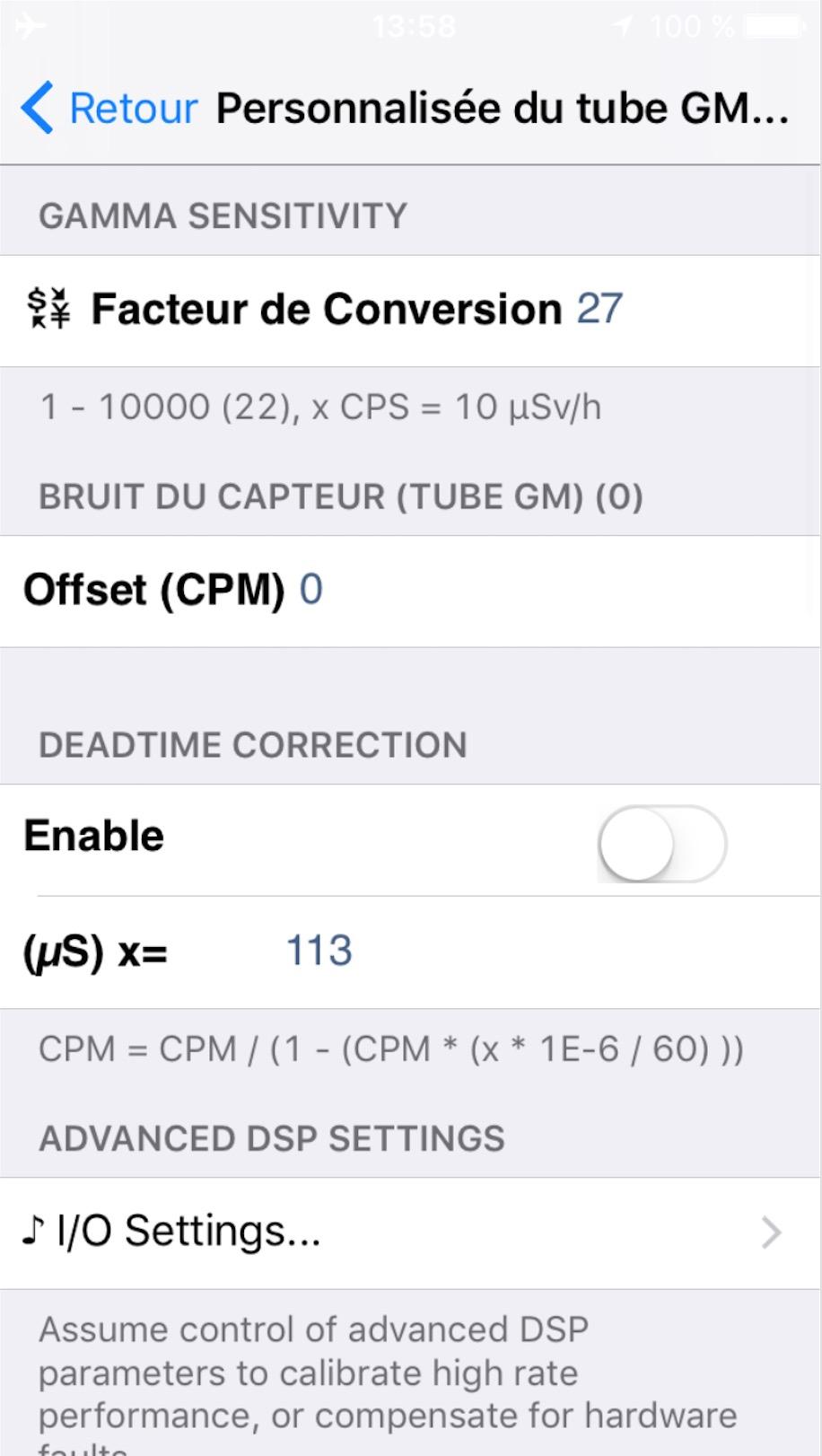Application Geiger Bot, compteur Geiger, mesure de sources, de bruit de fond et autres stats. Captur45