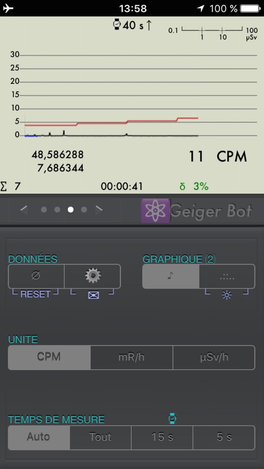 Application Geiger Bot, compteur Geiger, mesure de sources, de bruit de fond et autres stats. Captur46