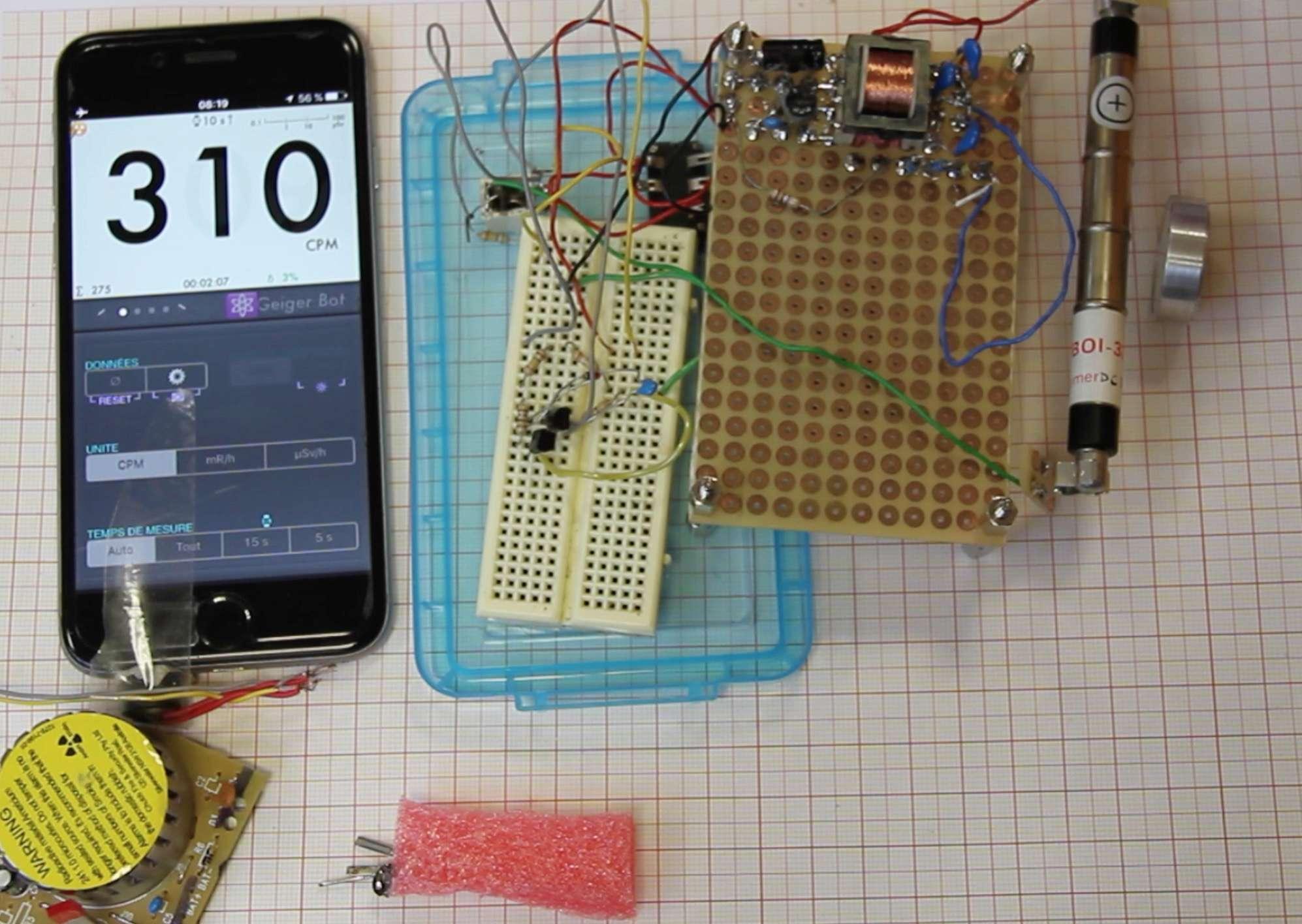 Application Geiger Bot, compteur Geiger, mesure de sources, de bruit de fond et autres stats. Captur48