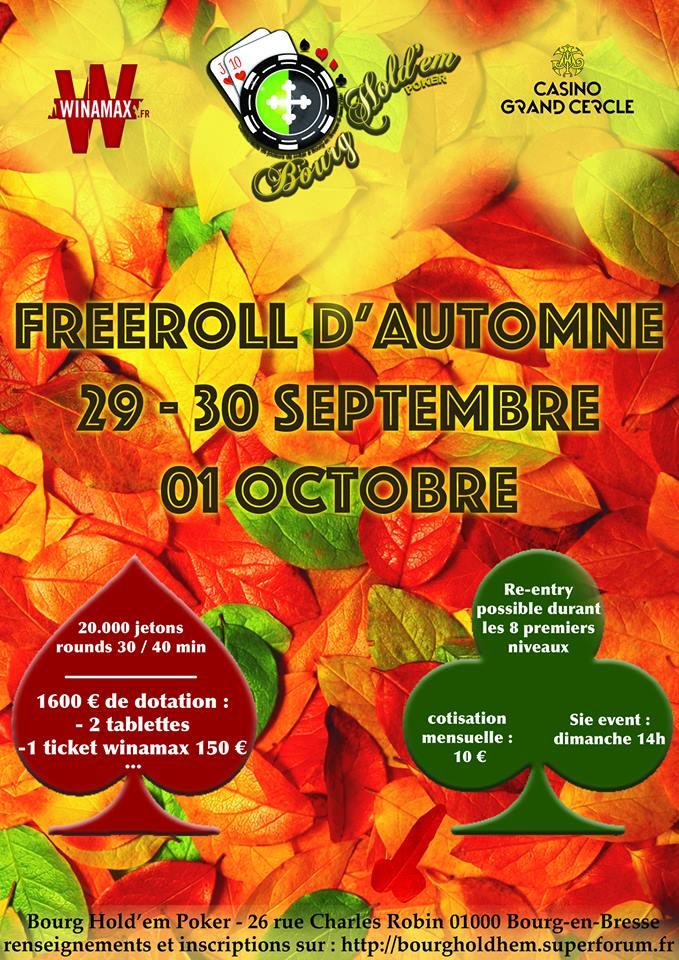[29/30/1er septembre/octobre] Grand Freeroll Re Entry d'Automne Bourg hold em  21291510
