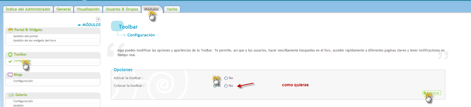 Toolbar y notificaciones : ¿Como funcionan? 30010
