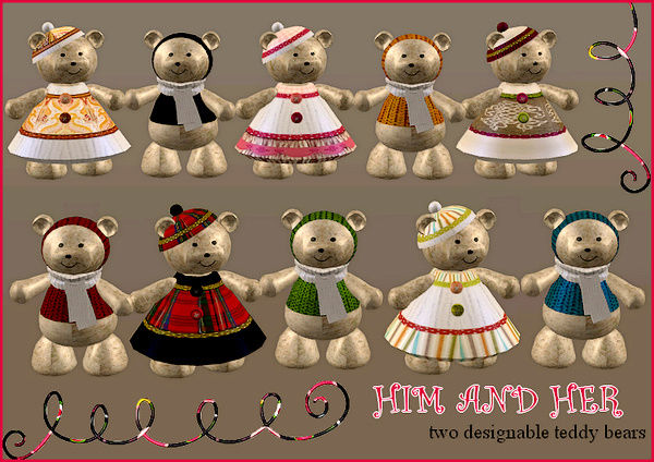 Teddybears by Cassandre (Sims 2 mesh) Himher10