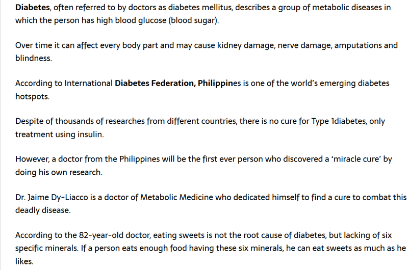 Filipino Doctor found miracle cure for diabetes Diabet11