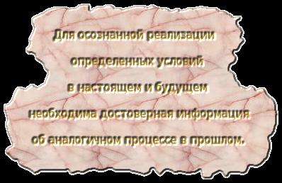 Для осознанной реализации определенных условий в настоящем и будущем необходима достоверная информация об аналогичном процессе в прошлом.