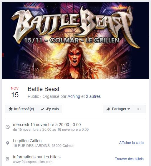 BATTLE BEAST  Le 15 NOV 2017  Le Grillen  COLMAR Battle10