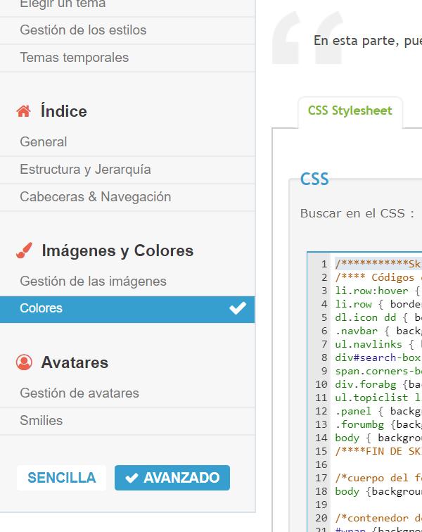 wrap - No aparece la opción de los colores html dentro de visualización y colores 110