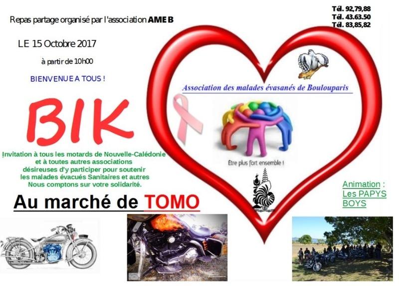 """Dimanche 15 octobre Tomo : 3ème édition """"Les Bikers ont du coeur"""" Rdv 9h piscine de Koutio Ameb2010"""