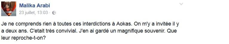 Malika Arabi soutient le café littéraire d'Aokas  1216