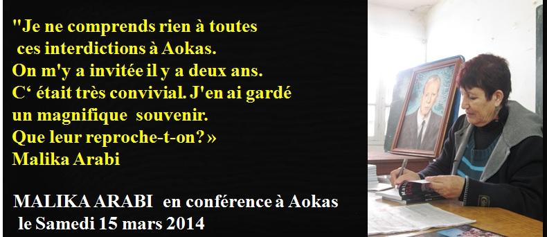 Malika Arabi soutient le café littéraire d'Aokas  315