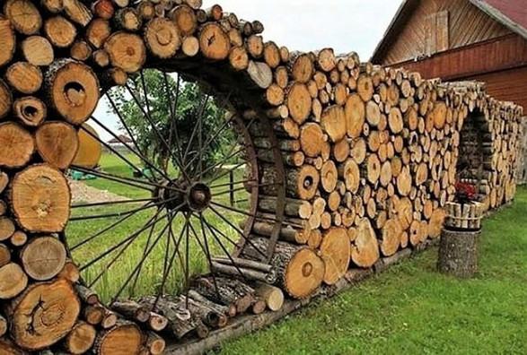 Murs jardin en rondins de bois Captu108