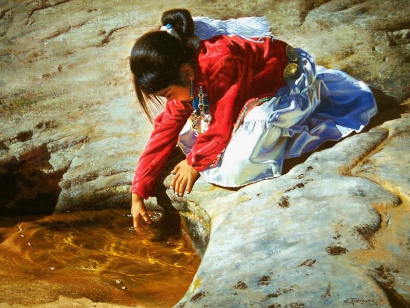 Alfredo Rodriguez, peintre des indiens et de l'ouest américain Captu145