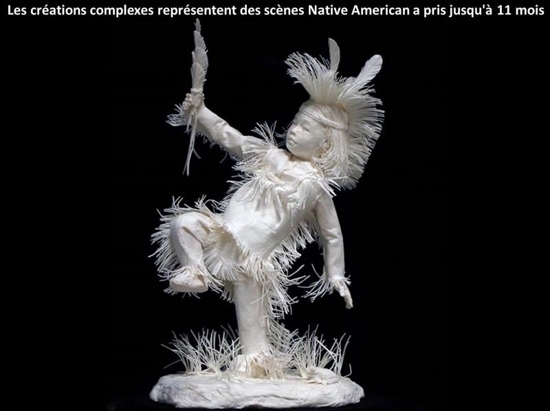 Scènes amérindiennes  : sculptures en papier Captu178