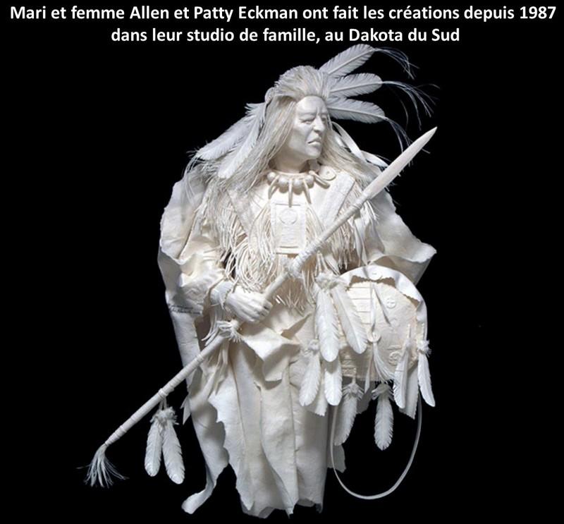 Scènes amérindiennes  : sculptures en papier Captu179