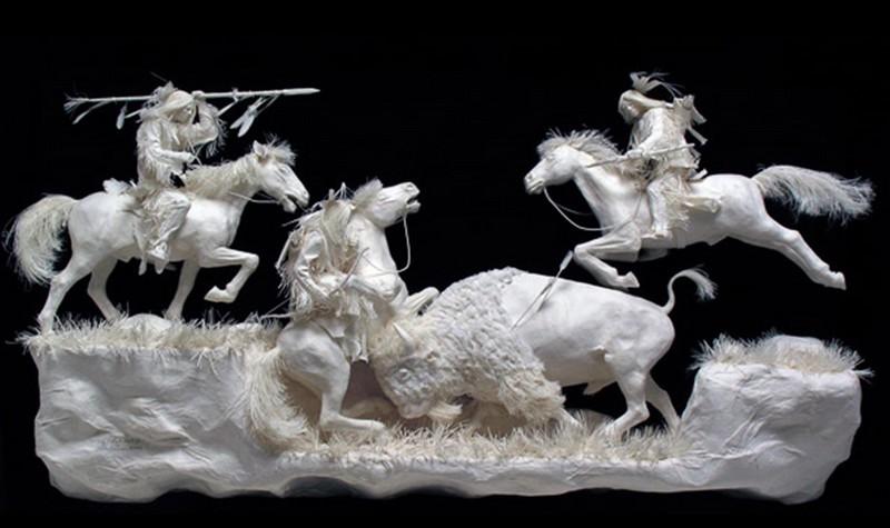 Scènes amérindiennes  : sculptures en papier Captu180