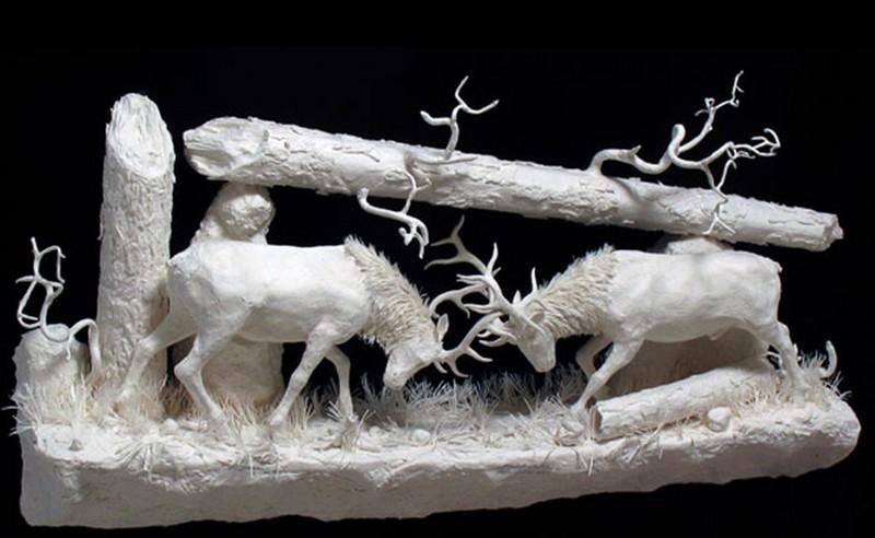 Scènes amérindiennes  : sculptures en papier Captu183
