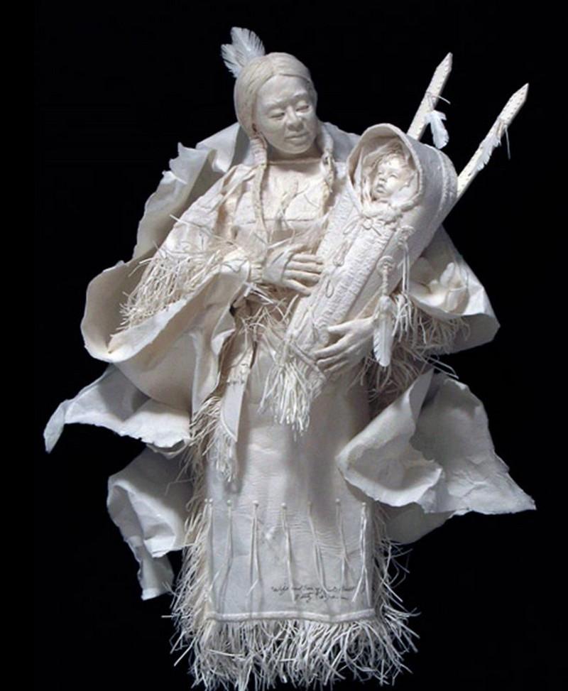 Scènes amérindiennes  : sculptures en papier Captu185