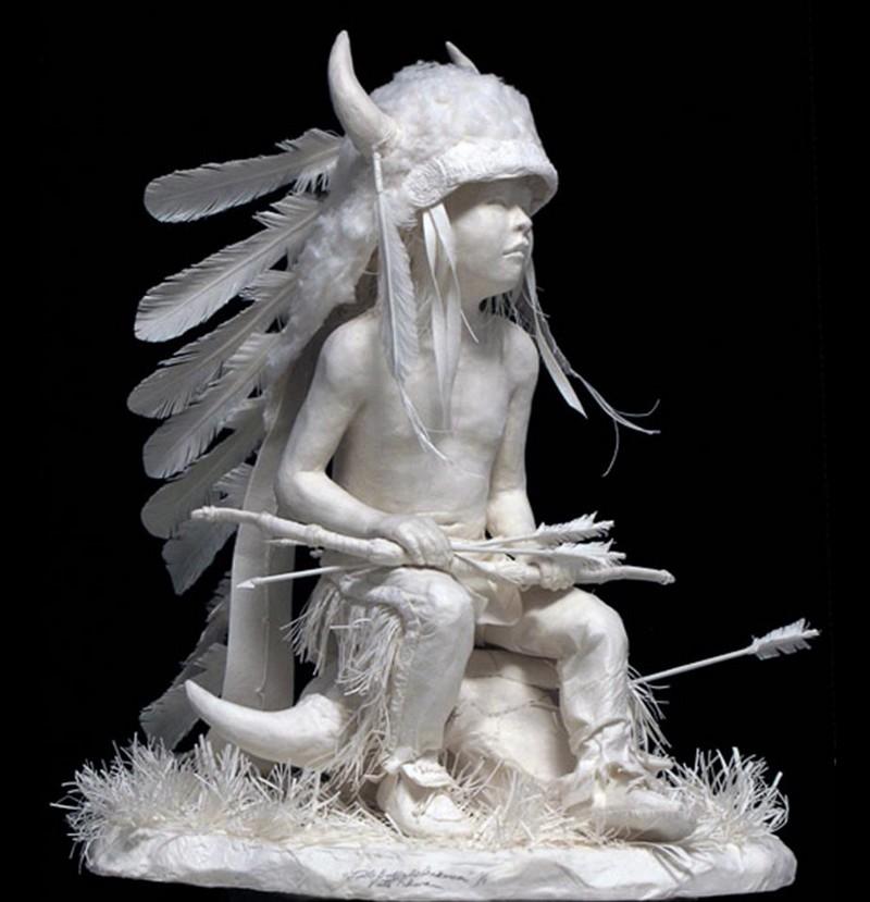 Scènes amérindiennes  : sculptures en papier Captu186
