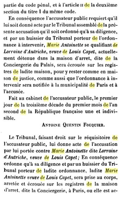 22 novembre 1793: Acte d'accusation de Marie-Antoinette 1210