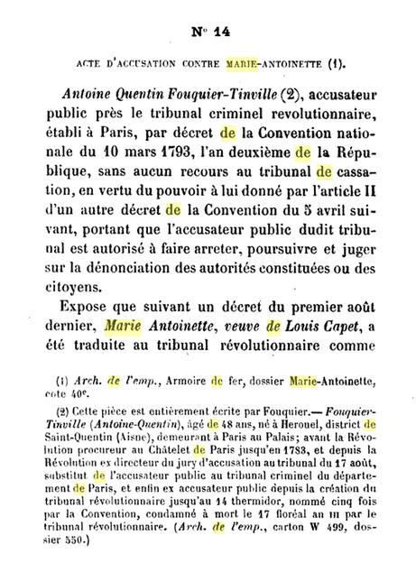 22 novembre 1793: Acte d'accusation de Marie-Antoinette 161