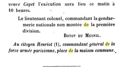 25 novembre 1793: Gendarmerie Nationale près de les Tribunaux et la garde des prisons de Paris 245