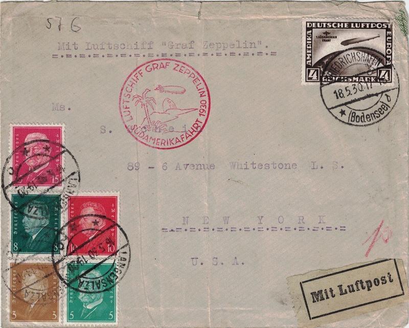 Zeppelinpost aus USA Langen10