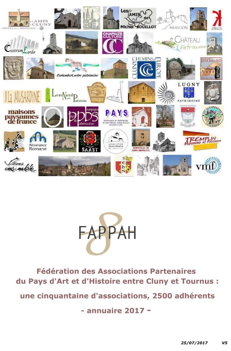 FAPPAH, Annuaire interactif Version juillet 2017 de la Fédération des Associations de sauvegarde et mise en valeur du patrimoine bâti, paysager et immatériel concentrées entre Cluny Tournus et périphérie du PAH . 0111
