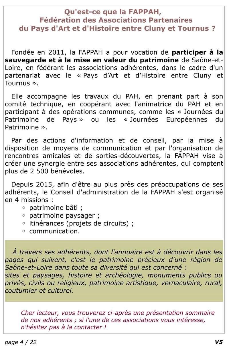 FAPPAH, Annuaire interactif Version juillet 2017 de la Fédération des Associations de sauvegarde et mise en valeur du patrimoine bâti, paysager et immatériel concentrées entre Cluny Tournus et périphérie du PAH . 0611