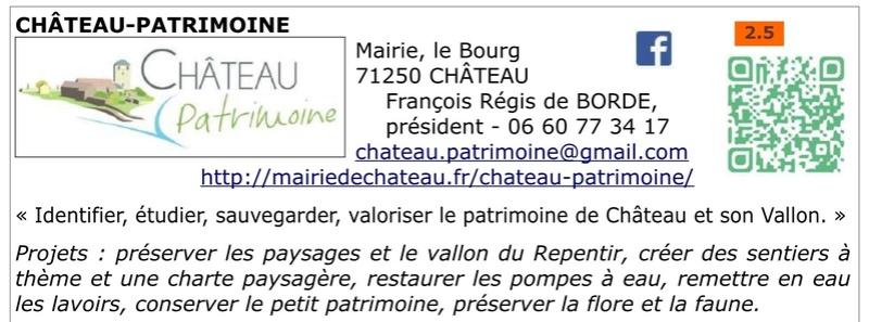 FAPPAH, Annuaire interactif Version juillet 2017 de la Fédération des Associations de sauvegarde et mise en valeur du patrimoine bâti, paysager et immatériel concentrées entre Cluny Tournus et périphérie du PAH . 09b11