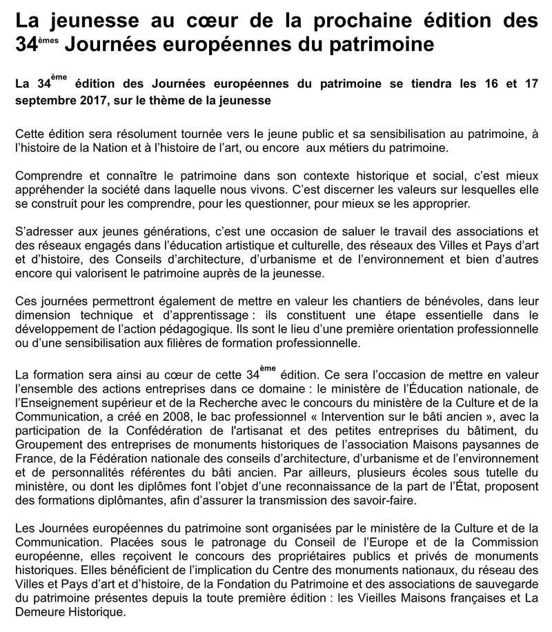 Information PAH - Dépliant papier Journées du Patrimoine 116
