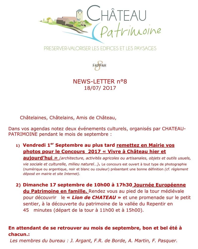 CHATEAU-PATRIMOINE News letter n°8 juillet 2017 125