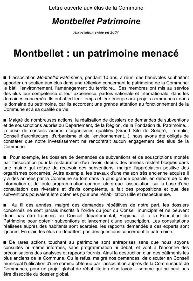 """""""lettre ouverte aux élus""""  Dissolution Montbellet Patrimoine 127"""