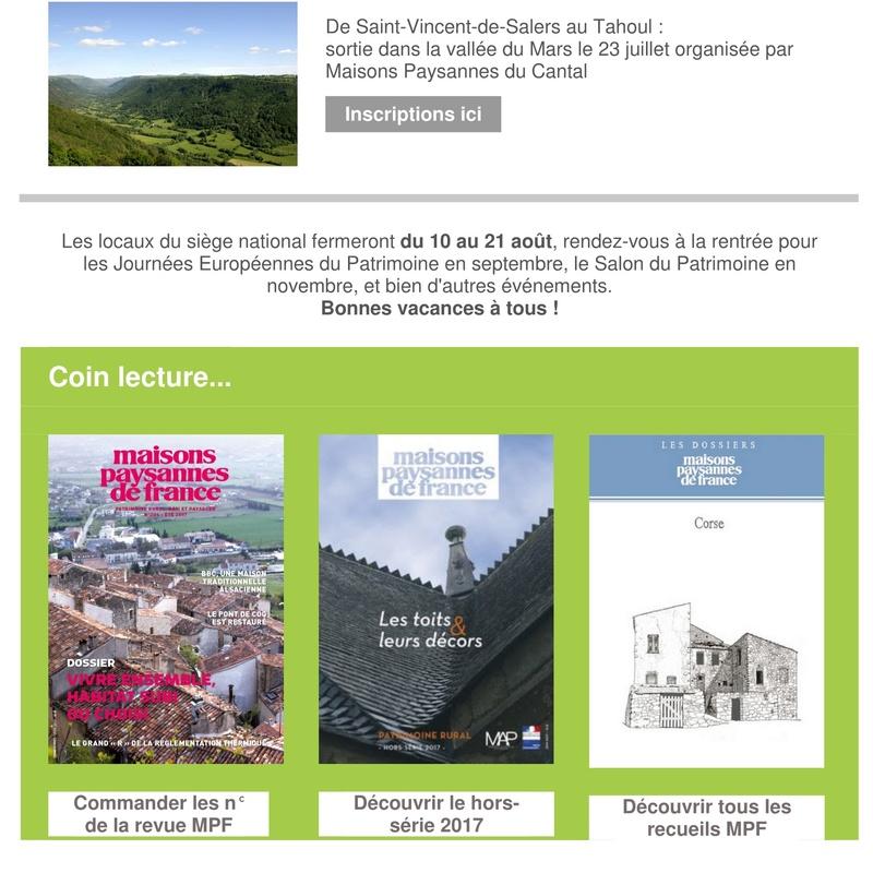 Lettre d'info Maisons Paysannes de France - juillet 2017 212