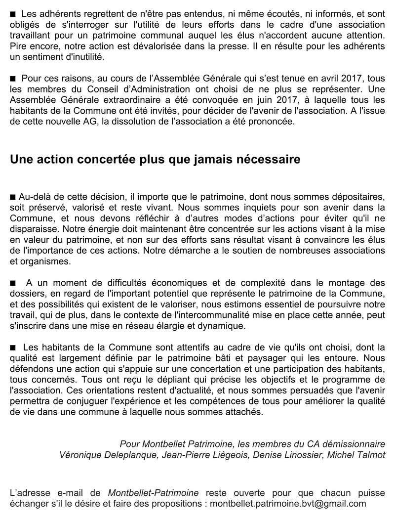 """""""lettre ouverte aux élus""""  Dissolution Montbellet Patrimoine 214"""