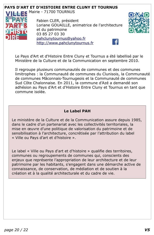 FAPPAH, Annuaire interactif Version juillet 2017 de la Fédération des Associations de sauvegarde et mise en valeur du patrimoine bâti, paysager et immatériel concentrées entre Cluny Tournus et périphérie du PAH . 2210