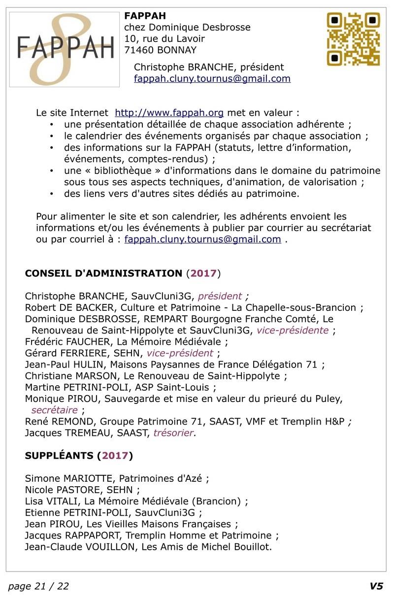 FAPPAH, Annuaire interactif Version juillet 2017 de la Fédération des Associations de sauvegarde et mise en valeur du patrimoine bâti, paysager et immatériel concentrées entre Cluny Tournus et périphérie du PAH . 2310
