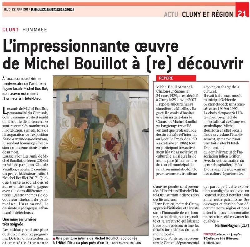 Exposition Michel Bouillot à l'Hôtel-Dieu de Cluny. Article du JSL du 22 juin 2017 Articl10