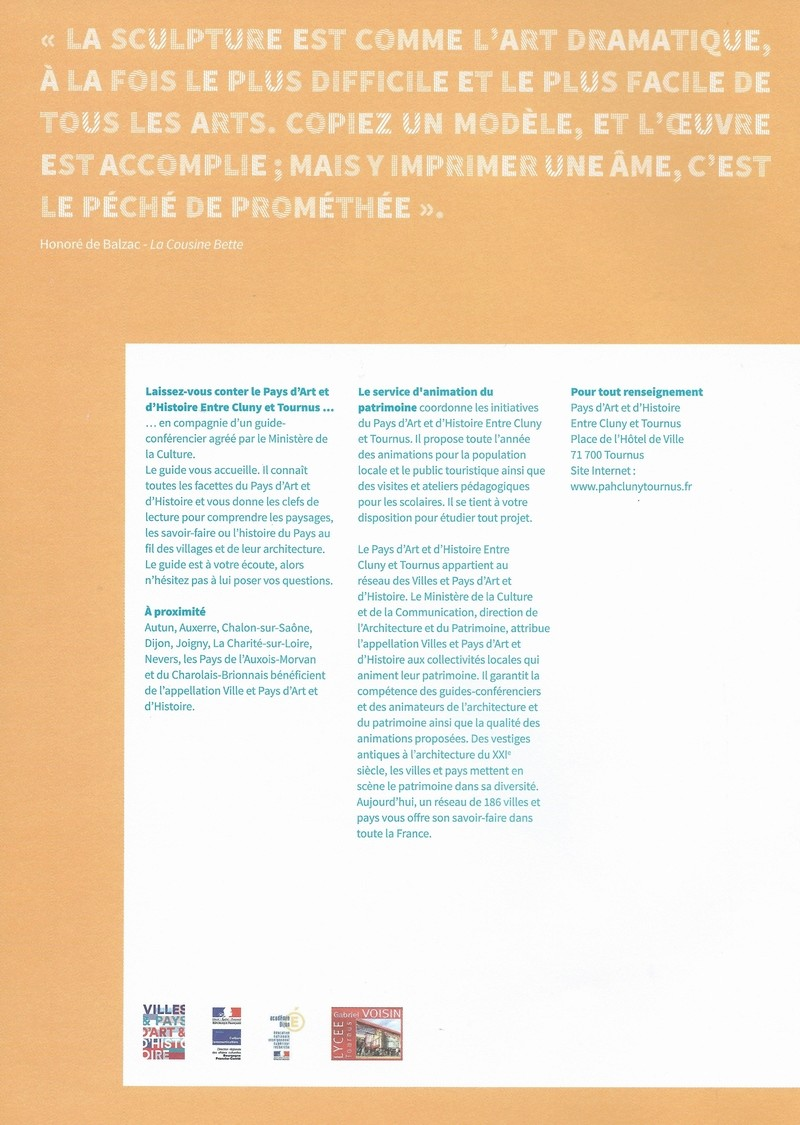 """Dépliant """"Focus - La sculpture de pierre entre Cluny et Tournus"""", rédigé par les élèves de 2nde option patrimoine du Lycée Gabriel Voisin de Tournus.  Focus_18"""