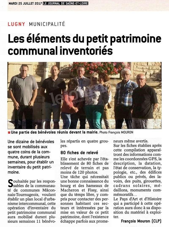 """Lugny (71) : """"Les éléments du petit patrimoine communal inventoriés"""" (""""Le JSL"""" du mardi 25.07.2017).  Lugny_22"""