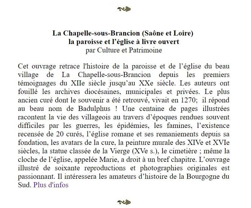 """Article de Thierry Sabot """"La Gazette du Web"""" sur la brochure de l'église et de la paroisse de la Chapelle-sous-Brancion Sabot11"""