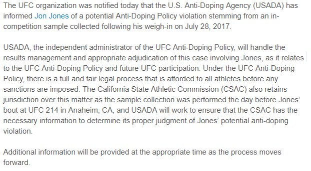Jon Jones Tests Positive for Steroids Not Yet Stripped of UFC LHW Title Statem10