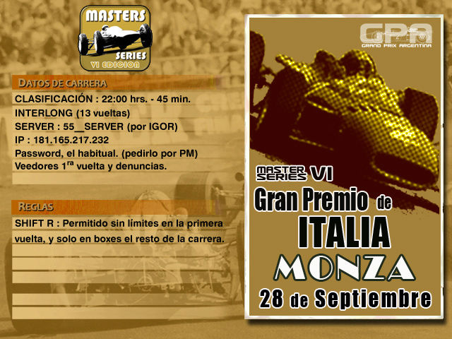 Masters Series 6ta Edición (MOD55) - Monza 10K Monza110