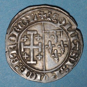 Denier de Jeanne de Naples et Louis de Tarente pour Naples  Jeanne10