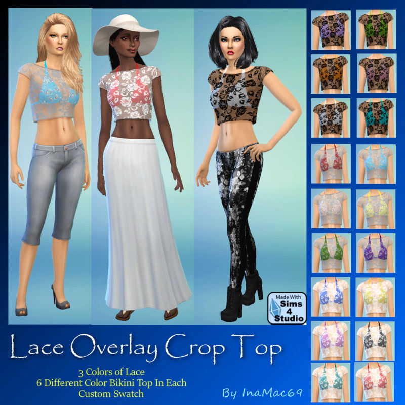 Lace Overlay Crop Top by InaMac69 Laceto10
