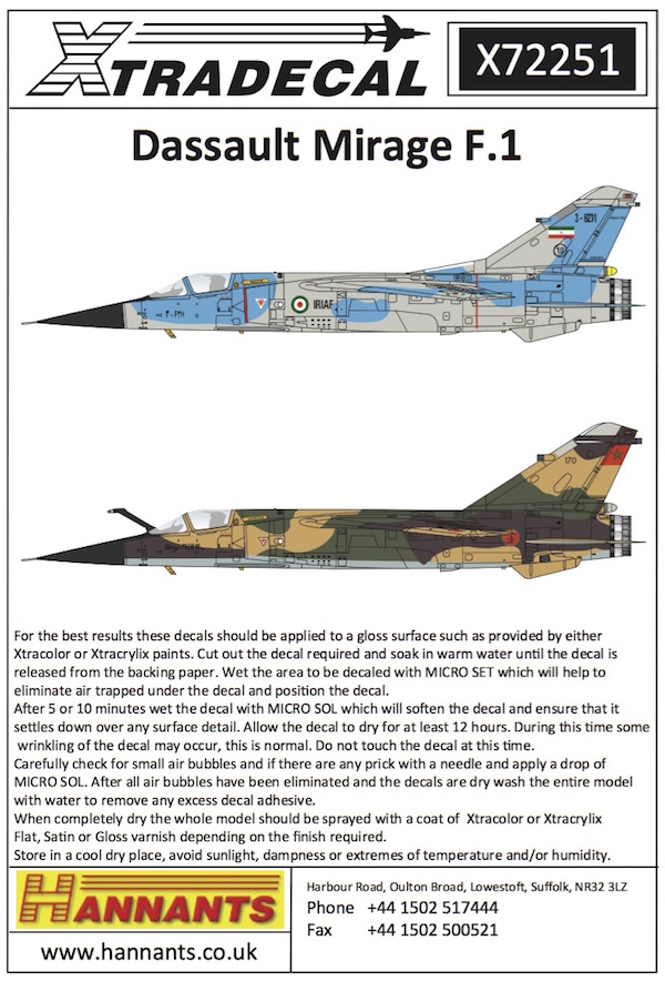Mirage F1EQ [Special Hobby + Berna décals 1/72] X7225110