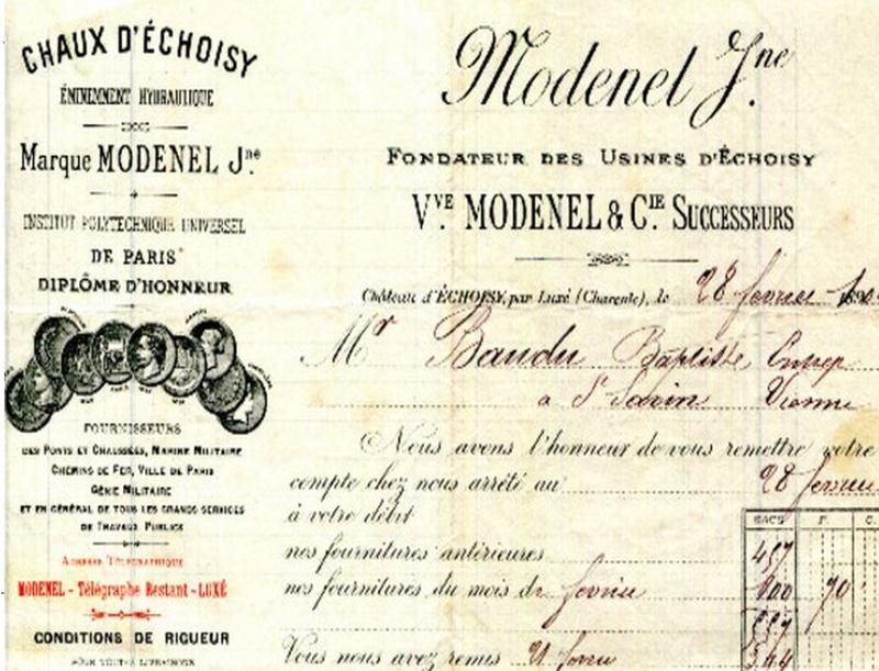 """Charente - Plomb de scelle """"Chaux hydraulique Modenel Jeune a Echoisy"""". Modene10"""