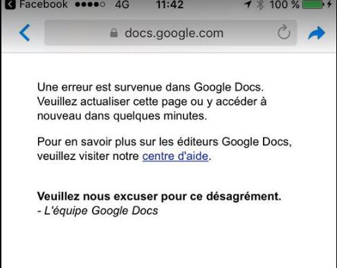 Message d'erreur google drive ? 2017-053